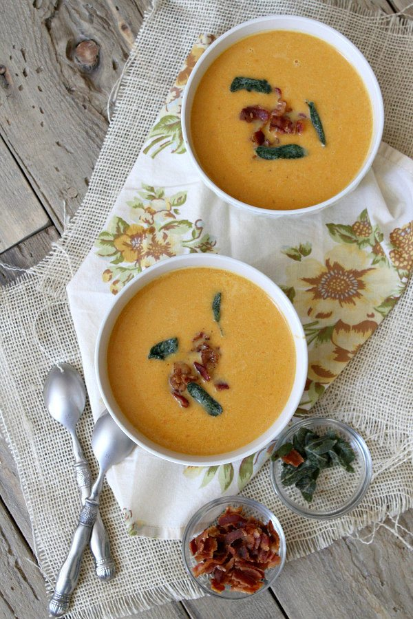 Sweet Potato Soup with Bacon and Crispy Sage Recipe - from RecipeGirl.com