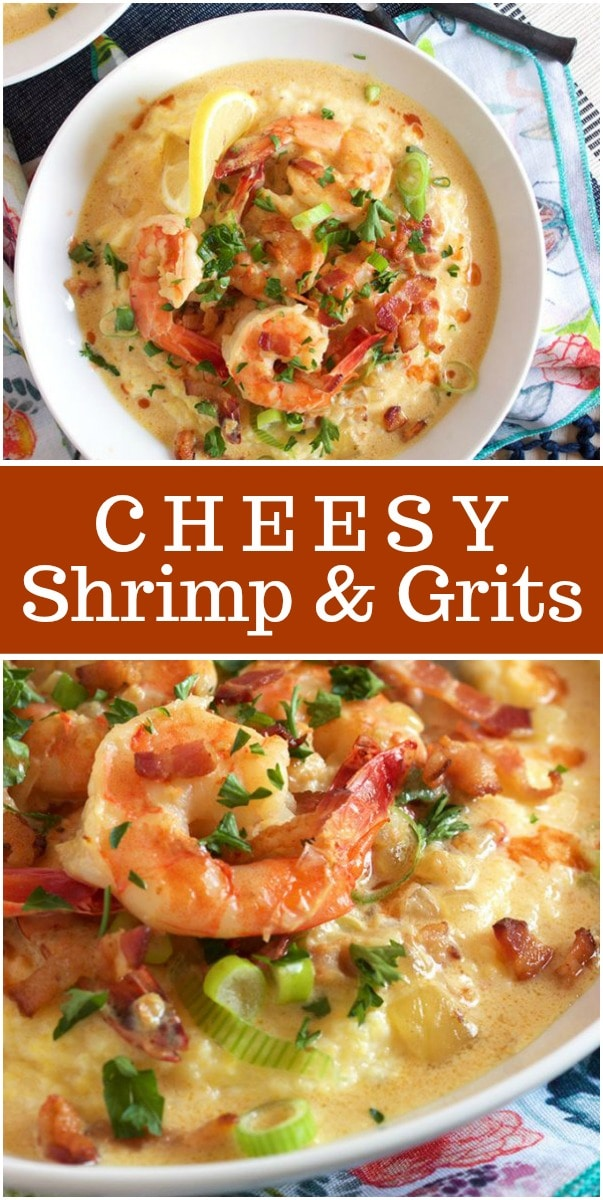 Cheesy Shrimp and Grits recipe from RecipeGirl.com #shrimp #grits #recipe #RecipeGirl