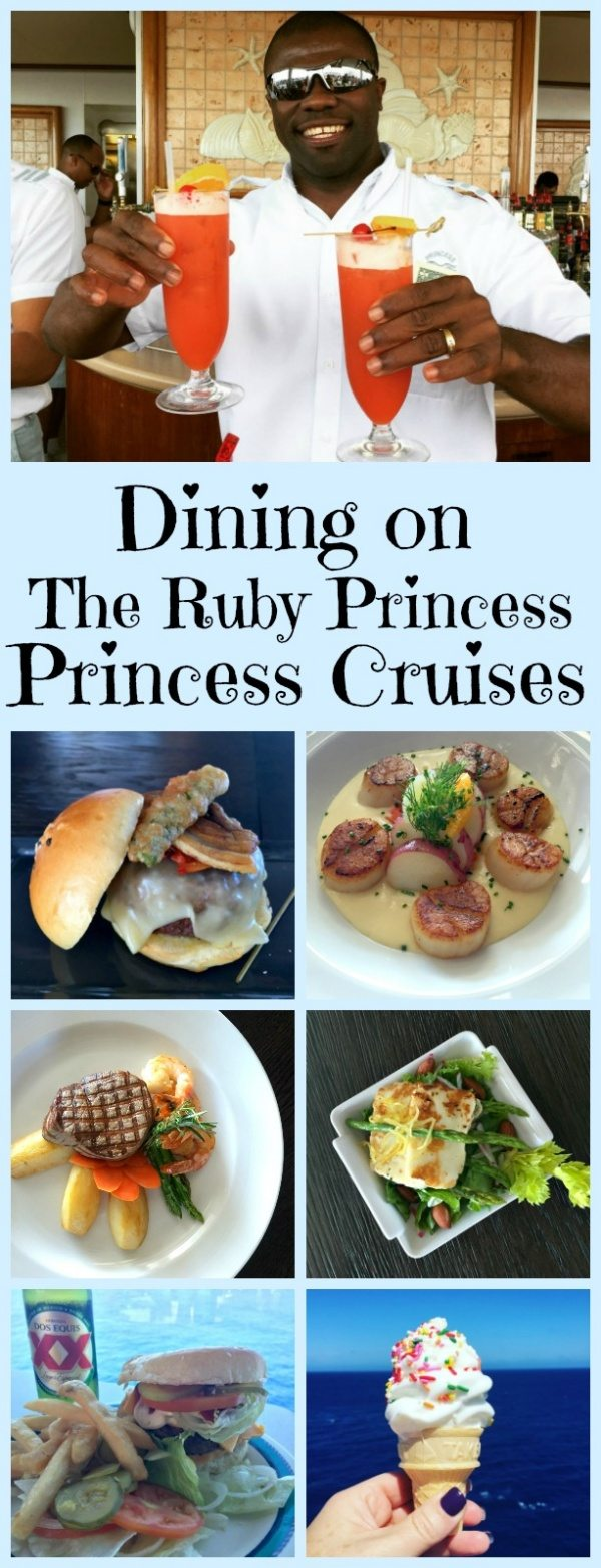 Dining on The Ruby Princess by Princess Cruises Cruise Line - sharing all of the options for casual and specialty dining and culinary experiences on board the ship.