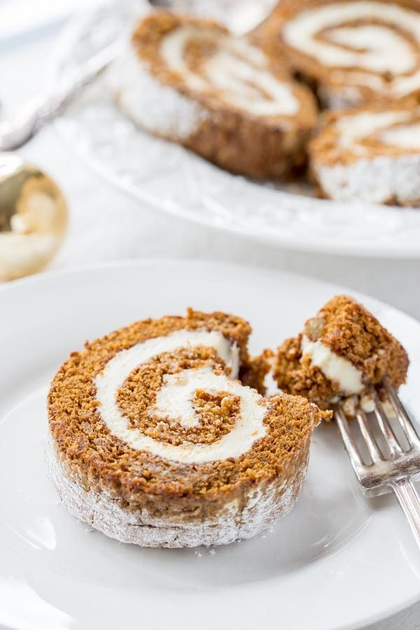 Gingerbread Roll with Lemon Cream Cheese Filling - from RecipeGirl.com