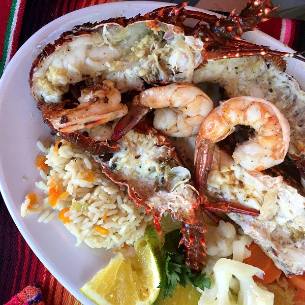 Shrimp and Lobster in Mazatlan, Mexico at Restaurante Mr. Lionso