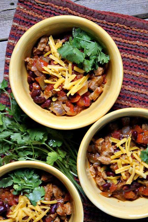 Quick and Easy Pork and Bean Chili recipe - from RecipeGirl.com. I ...