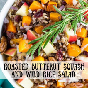 pinterest image for roasted butternut squash and wild rice salad