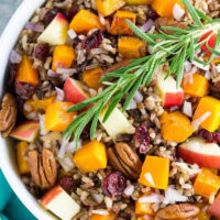 bowl of roasted butternut squash and wild rice salad