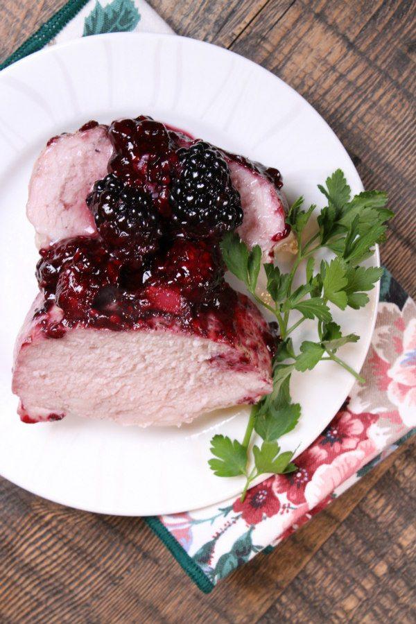 Roasted Pork with Blackberry Sauce recipe - from RecipeGirl.com