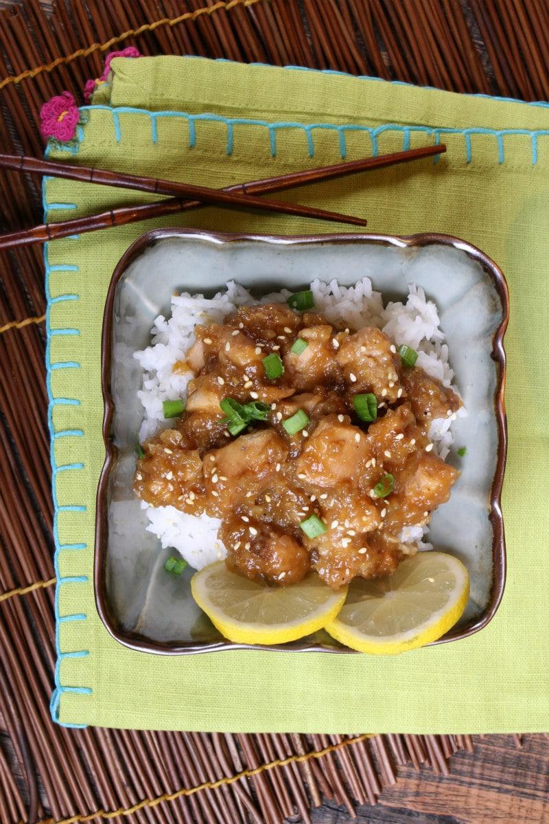 Slow Cooker Lemon Chicken served over rice