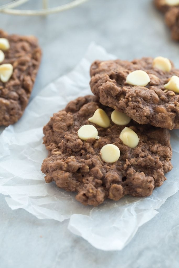 These Double Chocolate Oatmeal Cookies are packed with chocolate and chewy oats -- they make the perfect snack or easy treat and freeze beautifully! - recipe from RecipeGirl.com