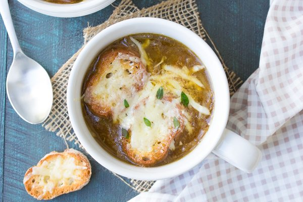 Easy French Onion Soup Recipe - from RecipeGirl.com