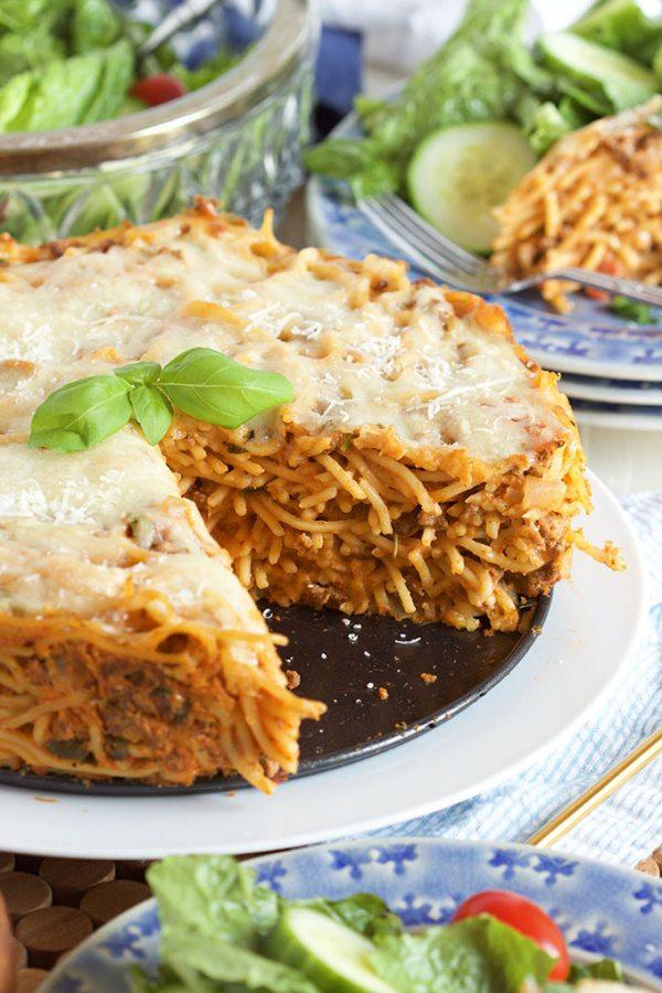 Super Easy Spaghetti Pie Recipe is perfect for entertaining. | RecipeGirl.com