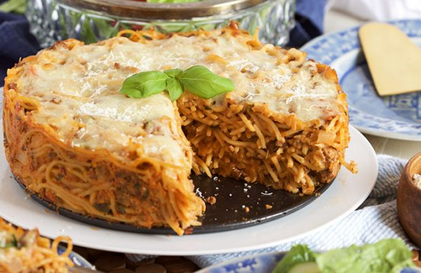 Super Easy Spaghetti Pie Recipe is perfect for entertaining. | TheRecipeGirl.com