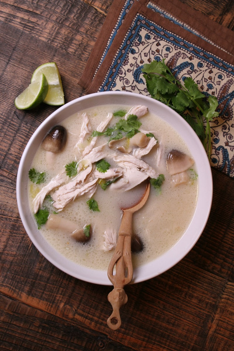 bowl of Thai Coconut Chicken Soup