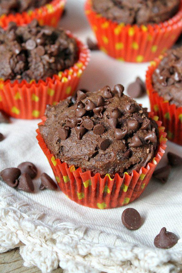 Healthier Triple Chocolate Muffins - recipe from RecipeGirl.com