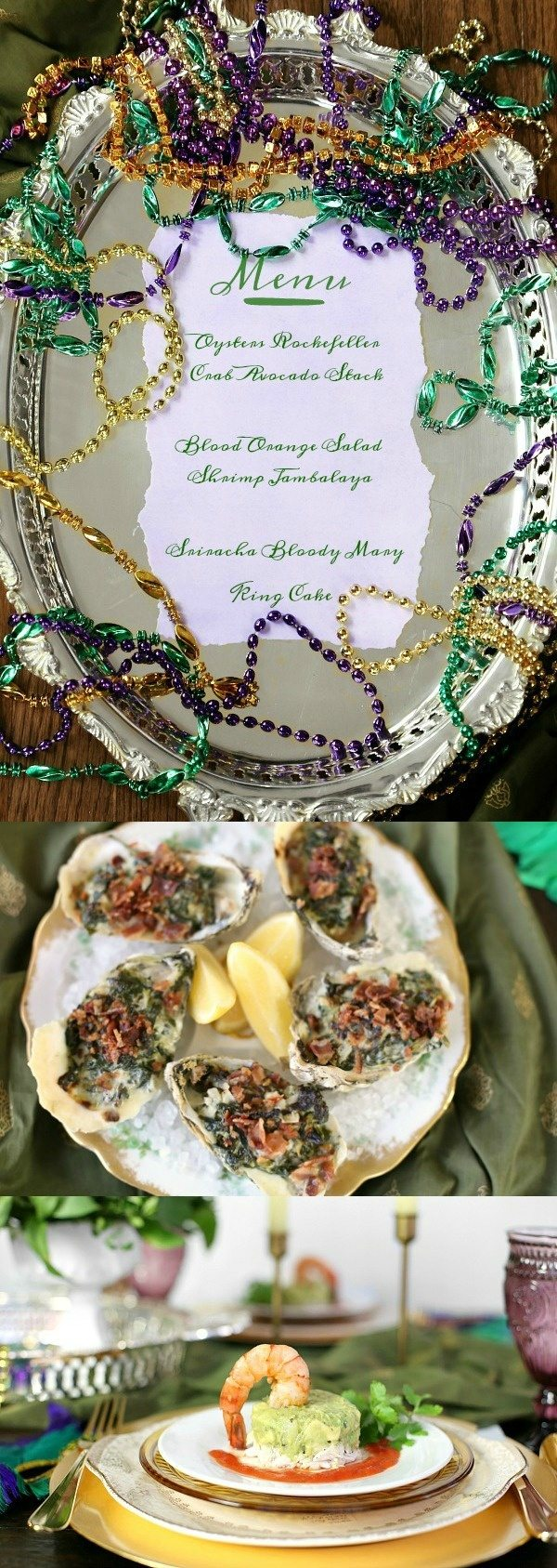 Mardi Gras Dinner Party Menu -- recipes, decor and table setting ideas - from RecipeGirl.com