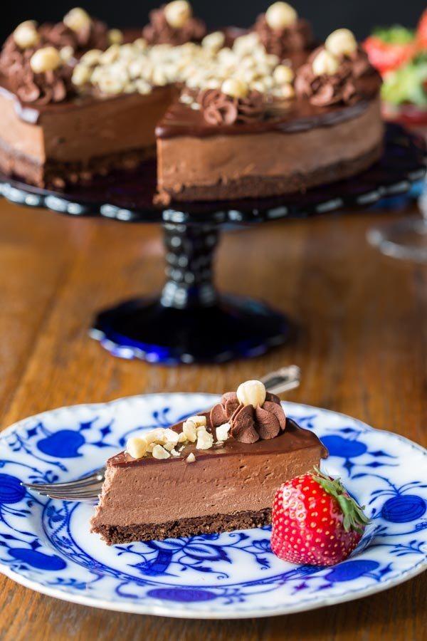 Chocolate Hazelnut Mousse Cake recipe from RecipeGirl.com