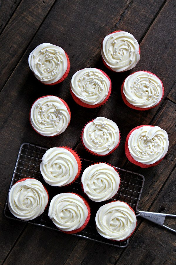 Pink Velvet Cupcakes with Cream Cheese Frosting recipe - from RecipeGirl.com
