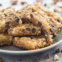 These Seven Layer Bars have a graham cracker crust and are piled with nuts, coconut, chocolate chips and white chocolate chips! They are totally decadent!