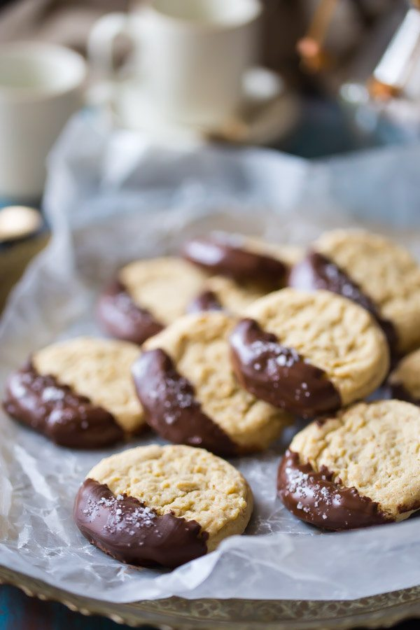 Soft Almond Butter Cookies with Dark Chocolate and Sea Salt : recipe from RecipeGirl.com