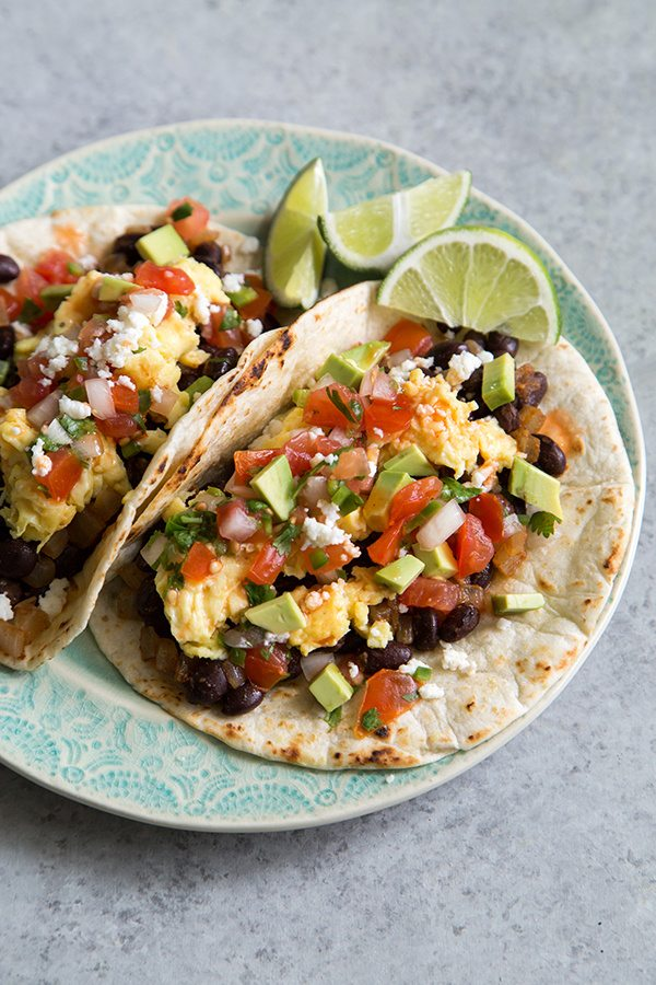 Black Bean Breakfast Tacos - recipe from RecipeGirl.com