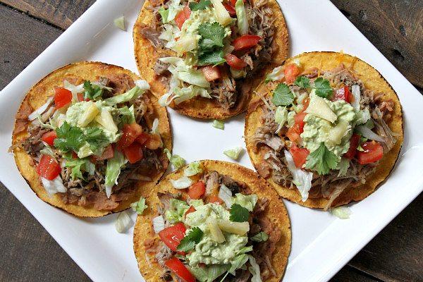 Carnitas Tostadas With Pineapple Guacamole Recipe Girl