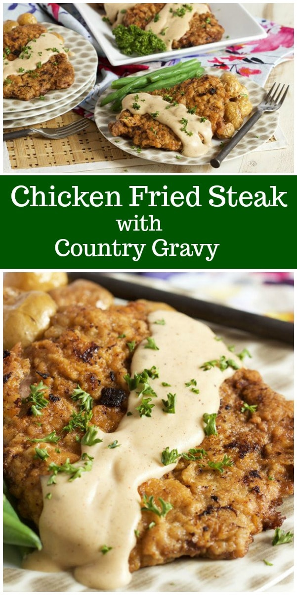 Chicken Fried Steak with Country Gravy recipe from RecipeGirl.com #chickenfriedsteak #countrygravy #southern #recipe #RecipeGirl
