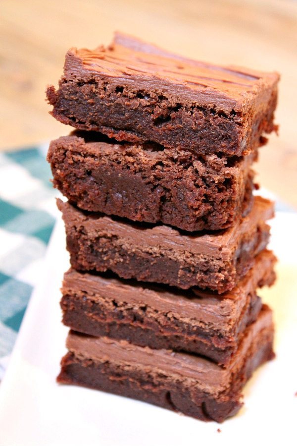 Irish Whiskey Brownies - a fudgy brownie recipe with chocolate- whiskey frosting - from RecipeGirl.com
