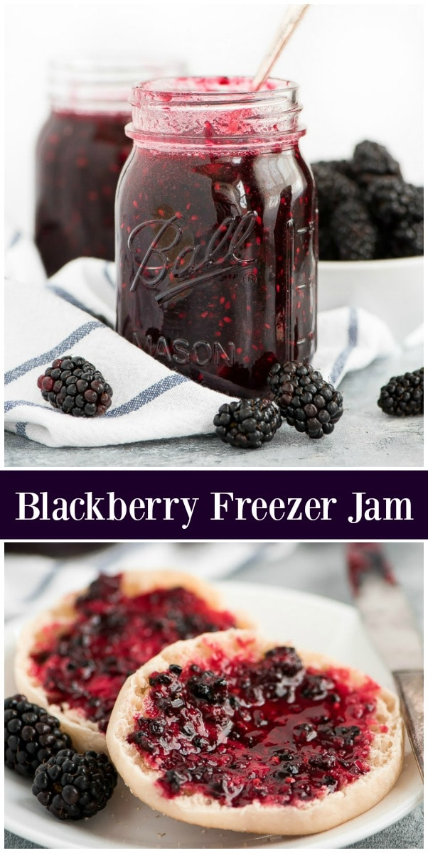 pinterest collage image for blackberry freezer jam