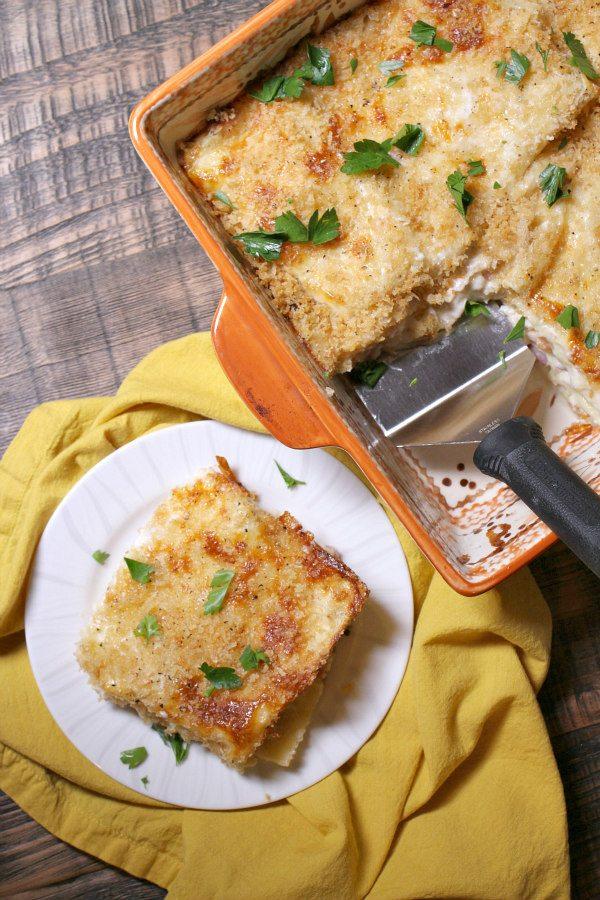 Chicken Cordon Bleu Lasagna - recipe from RecipeGirl.com