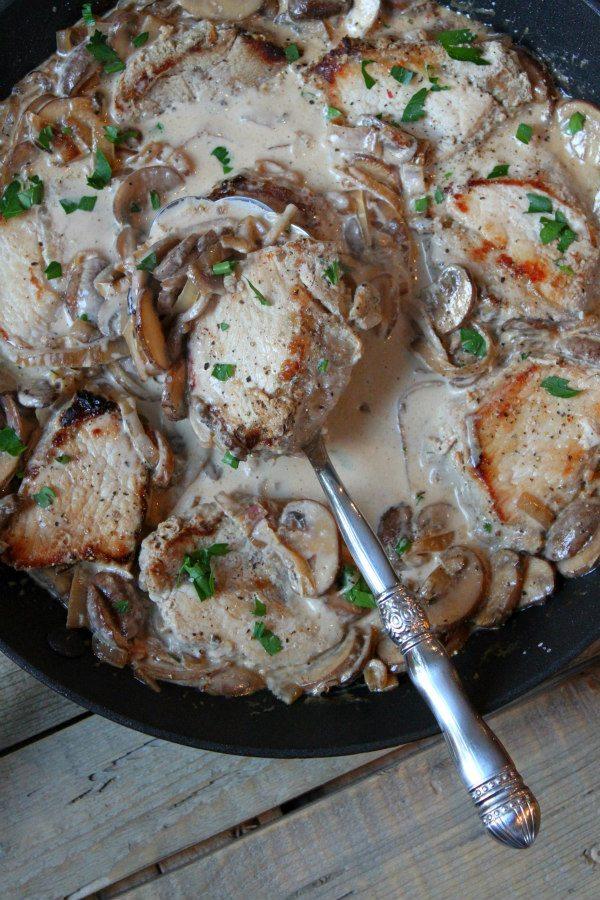 One Pan Pork with Creamy Mushroom Sauce - recipe from RecipeGirl.com