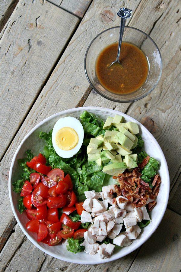 Quesadilla Cobb Salad with dressing