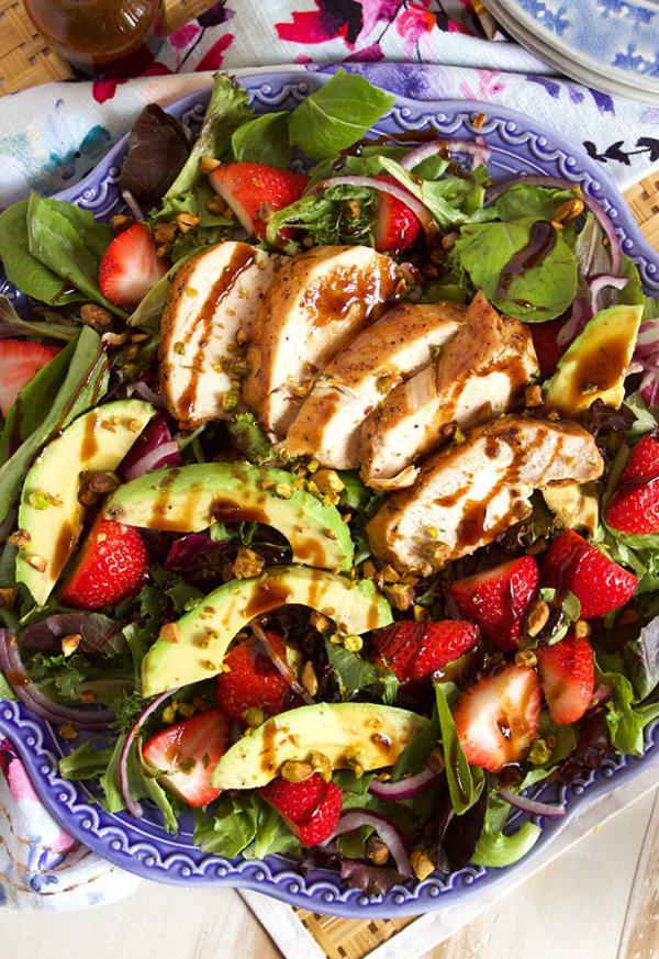 Strawberry Avocado Salad with Balsamic Chicken recipe from RecipeGirl.com