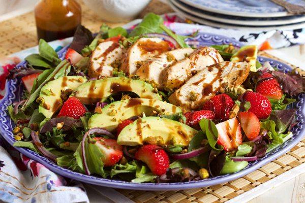 Strawberry Avocado Salad with Balsamic Chicken- recipe from RecipeGirl.com
