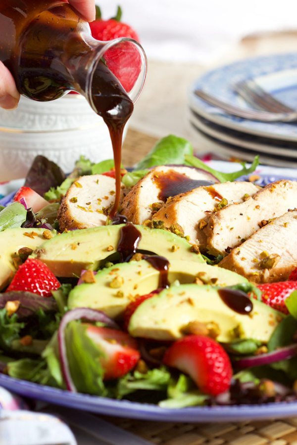 Strawberry Avocado Salad with Balsamic Chicken recipe from RecipeGirl.com