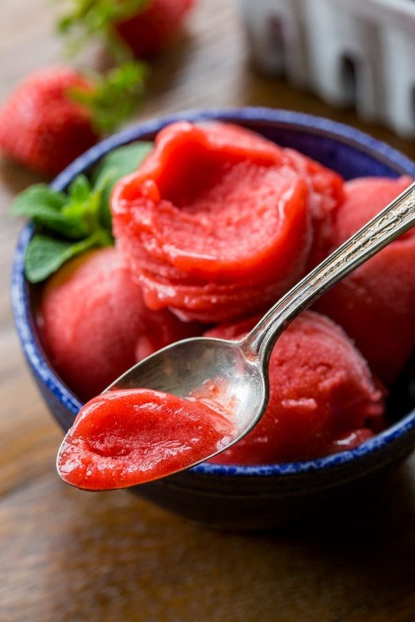Easy Strawberry Sorbet recipe from RecipeGirl.com