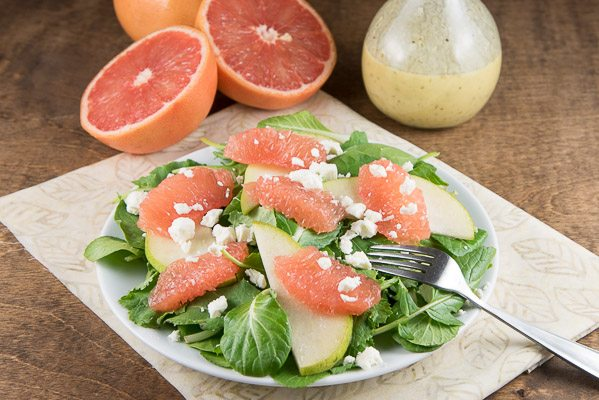 Grapefruit Salad with Champagne Vinaigrette - recipe from RecipeGirl.com
