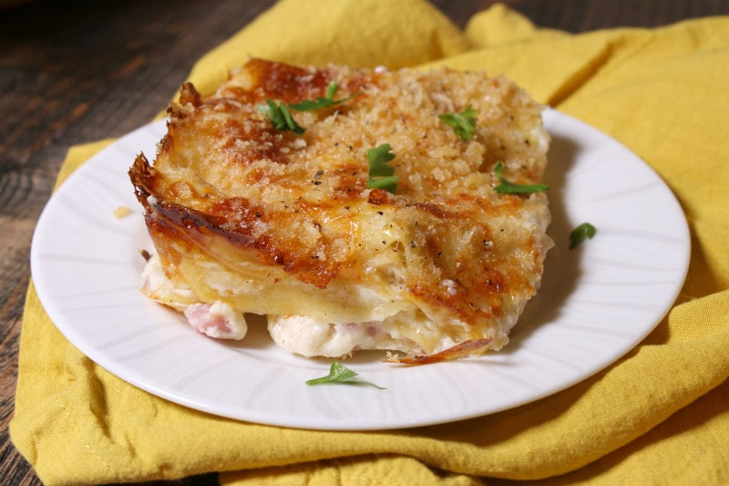 slice of Chicken Cordon Bleu Lasagna