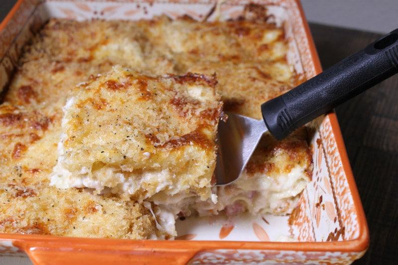 serving Chicken Cordon Bleu Lasagna