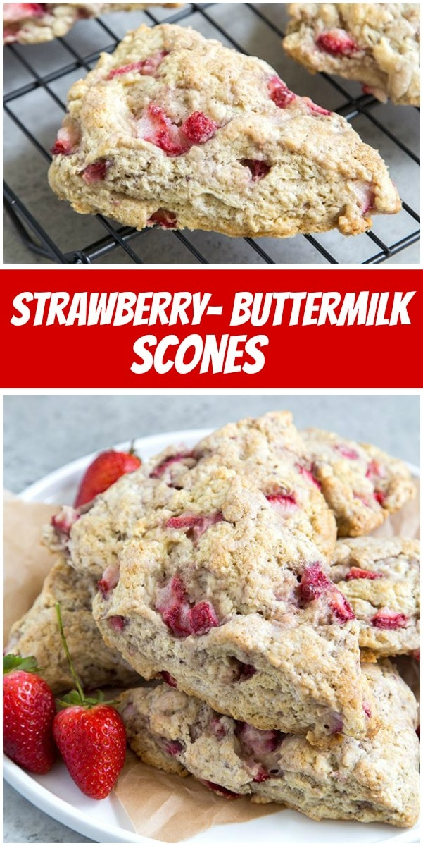 pinterest collage image for strawberry buttermilk scones