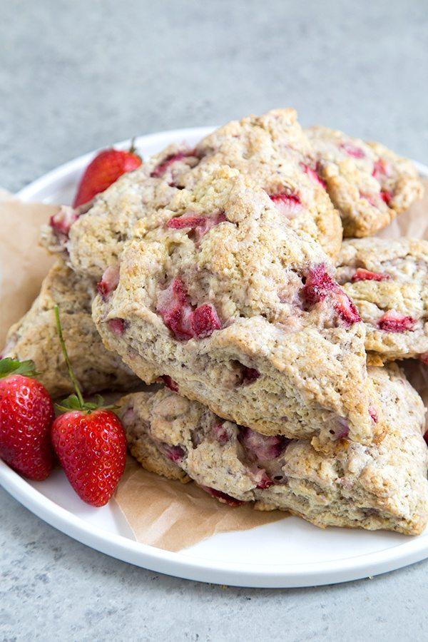Strawberry Buttermilk Scones recipe - from RecipeGirl.com
