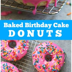 pinterest collage image for baked birthday cake doughnuts