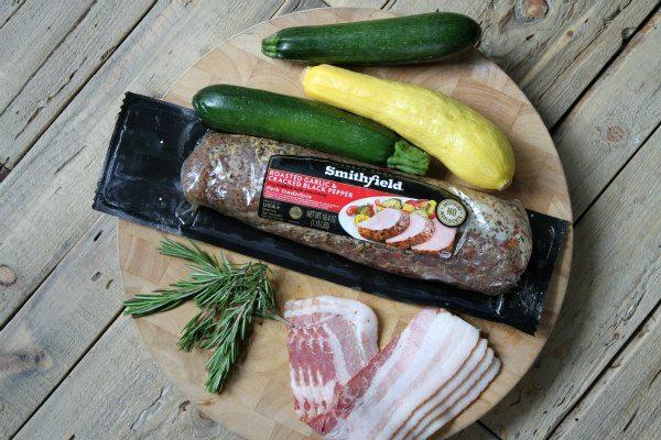 Grilled Bacon Rosemary Pork Tenderloin Kebabs - recipe from RecipeGirl.com