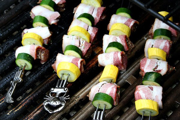 Grilled Bacon Rosemary Pork Tenderloin Kebabs - recipe from RecipeGirl.com