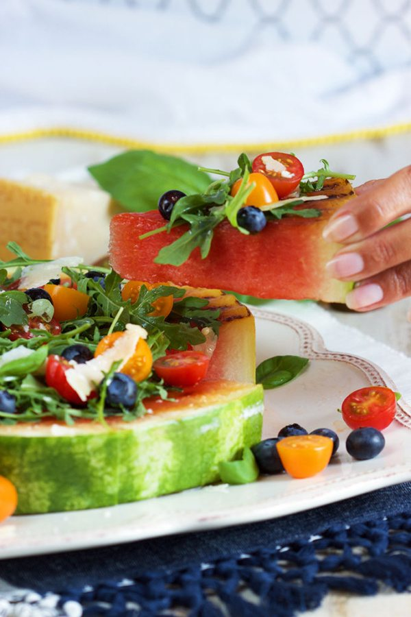 Grilled Watermelon Pizza with Blueberries, Parmesan and Arugula by RecipeGirl.com