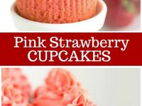 pinterest collage image for pink strawberry cupcakes