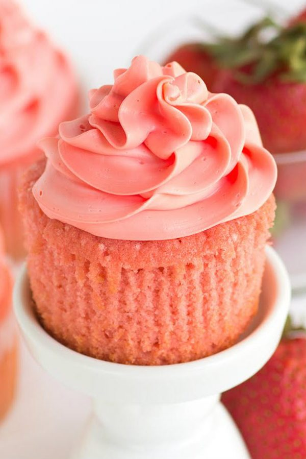 Pink Strawberry Cupcake unwrapped