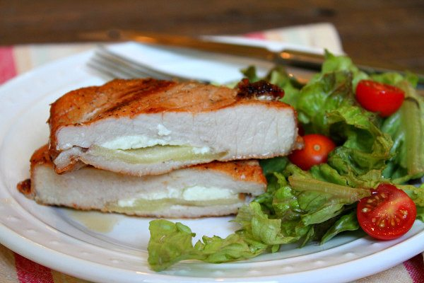 Blue Cheese and Apple Stuffed Grilled Pork Chops recipe - from RecipeGirl.com