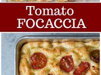 pinterest collage image for tomato focaccia