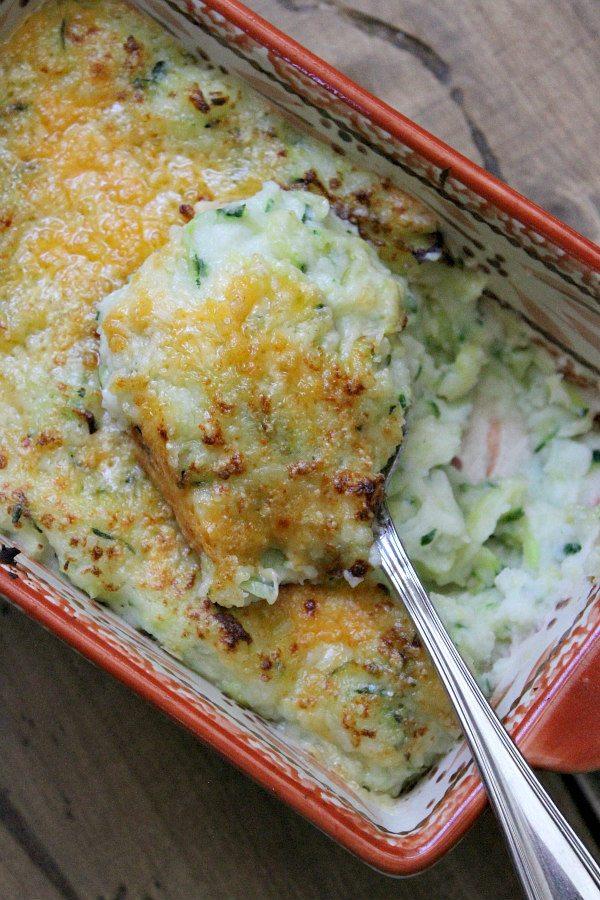 Two Cheese Garlic Zucchini Mashed Potatoes - recipe by RecipeGirl.com