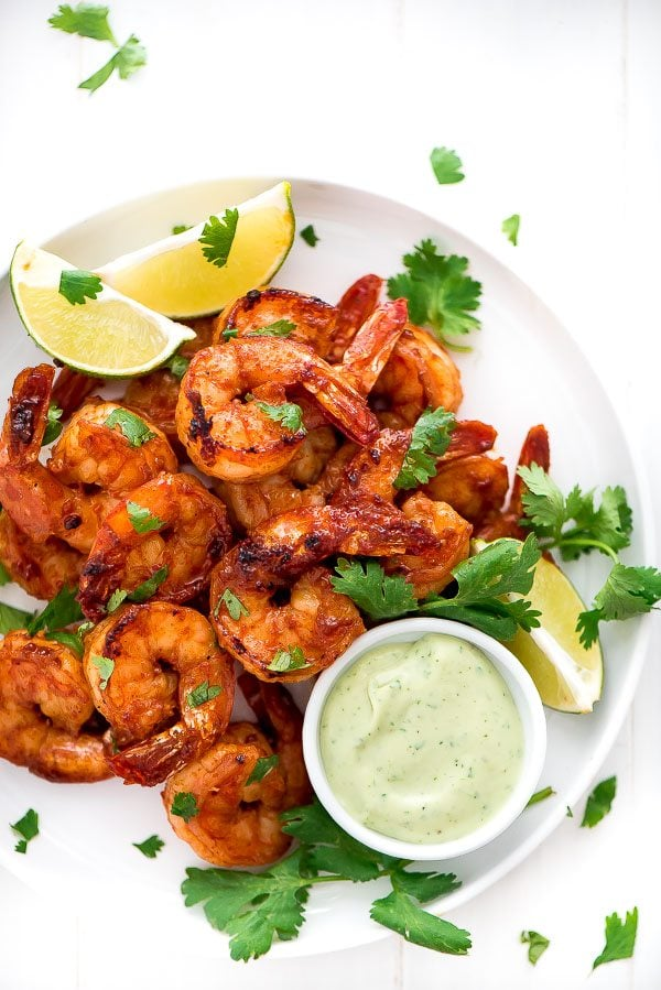Grilled Cilantro Lime Shrimp with avocado sauce