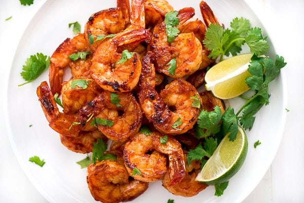 Plate of Grilled Cilantro Lime Shrimp