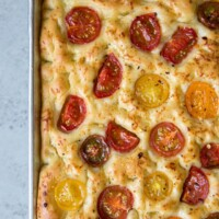 Tomato Focaccia Bread in a sheet pan